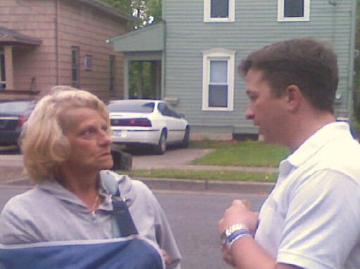 Powers and Councilwoman Rosemarie Christian at the Neighborhood Clean-up