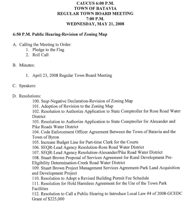 Batavia Town Board Meeting Agenda  The Batavian