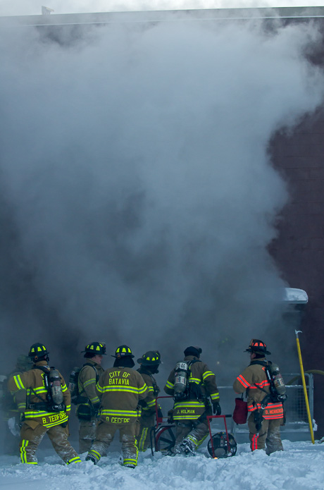 Firefighters battle flames and cold during fire at Bed, Bath