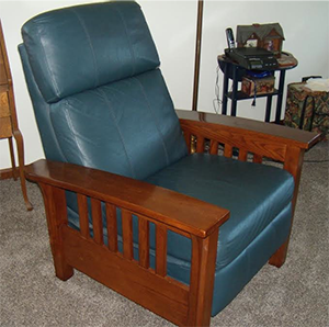 Lane Mission Style Blue Leather Recliner For Sale