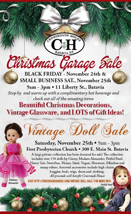 Click here for more information about the Christmas Garage Sale. Click here  for more information about the Vintage Doll Show.
